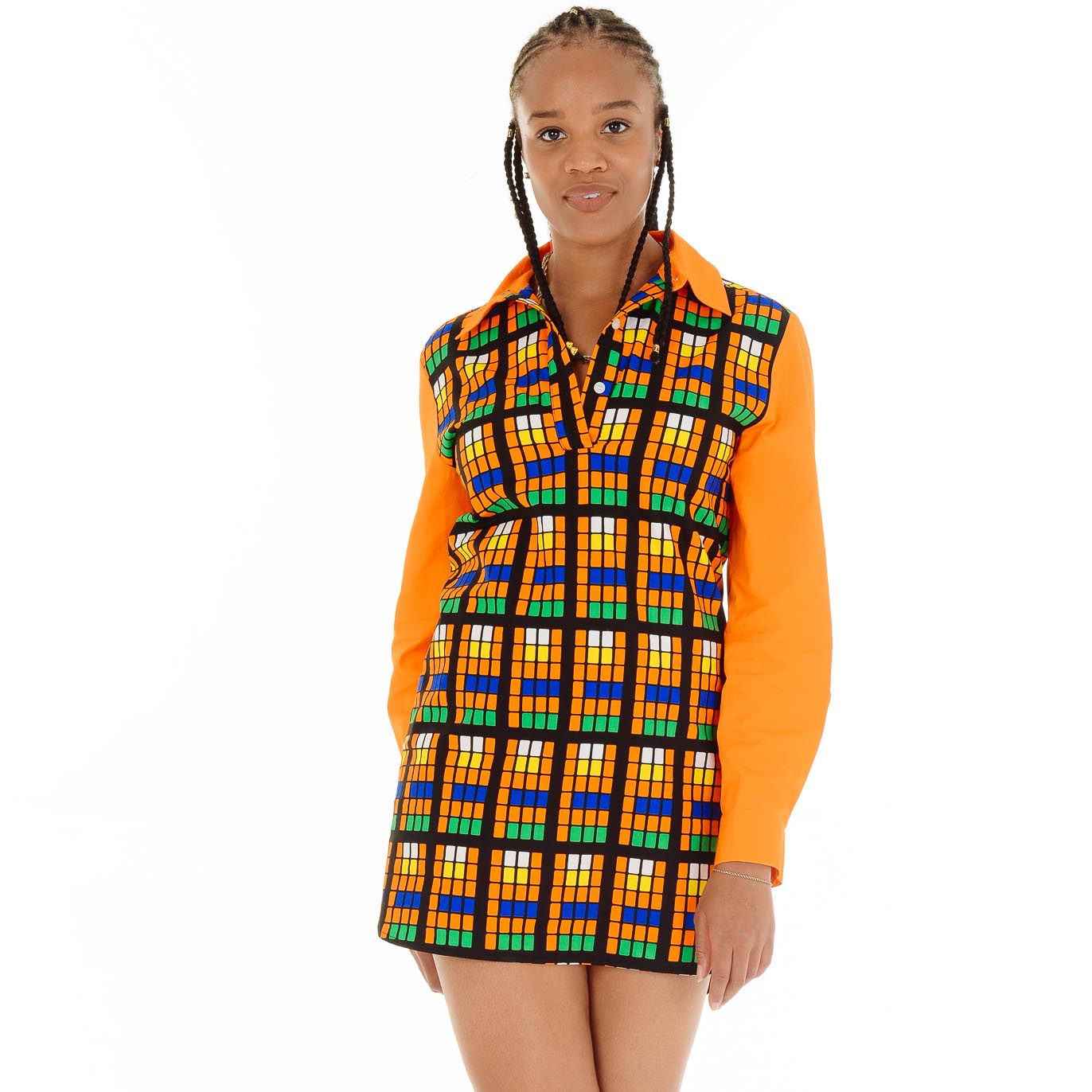 Teju Orange Shirt Dress